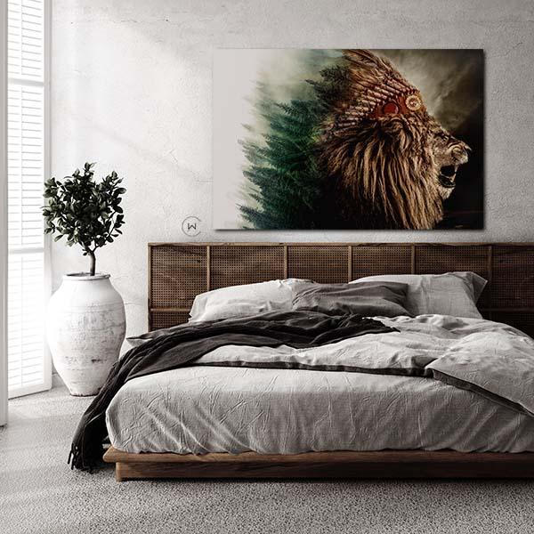 Stoere wanddecoratie slaapkamer Leeuw met indianentooi