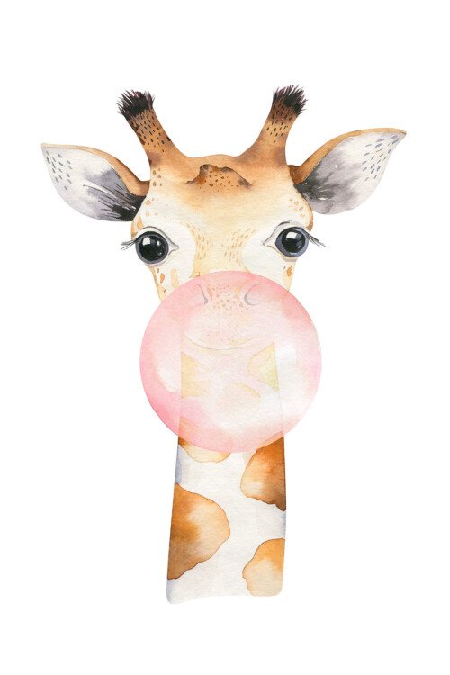 Bubbling Animals Giraffe - wanddecoratie kinderkamer muur