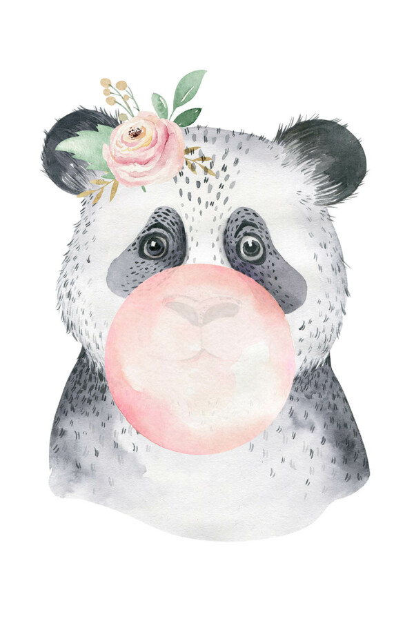 Bubbling Animals Panda - wanddecoratie kinderkamer muur
