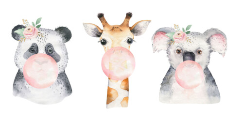 Bubbling Animals - wanddecoratie kinderkamer muur