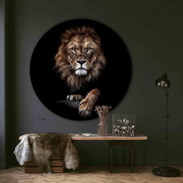 Ronde leeuw aan de muur