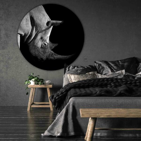 Zwart-witte neushoorn wanddecoratie slaapkamer