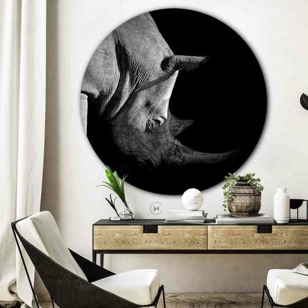 Neushoorn wandcirkel woonkamer