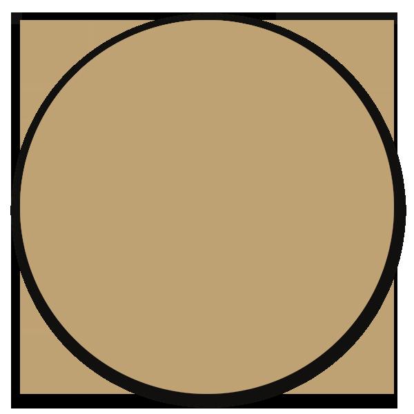 Muurcirkel donker beige - ronde wanddecoratie in uni kleure
