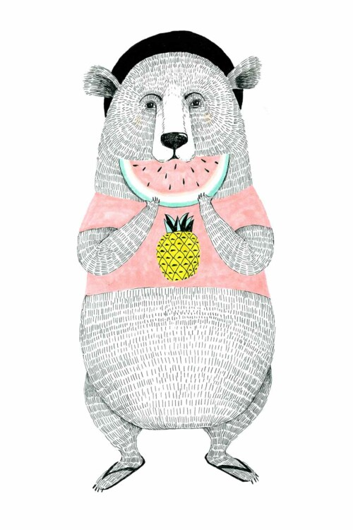Painted Animals Bear - wanddecoratie kinderkamer muur