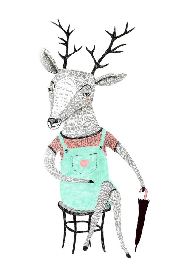 Painted Animals Deer - wanddecoratie kinderkamer muur | WallCatcher