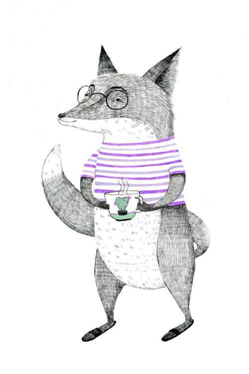 Painted Animals Fox - wanddecoratie kinderkamer muur