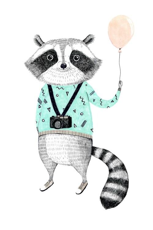 Painted Animals Raccoon- wanddecoratie kinderkamer muur
