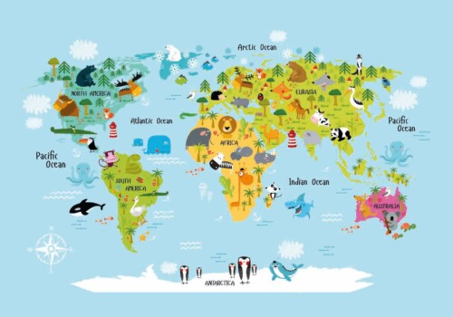 World Map Animals Colour - wanddecoratie kinderkamer