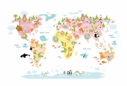 World Map Animals Pastel - wanddecoratie kinderkamer