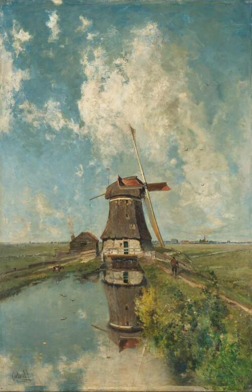 Een molen aan de poldervaart - Paul Joseph Costantin Gabriël
