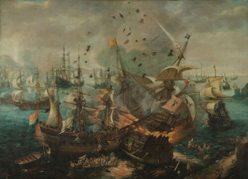 Slag bij Gibraltar in 1607- Cornelis Claesz. van Wieringen