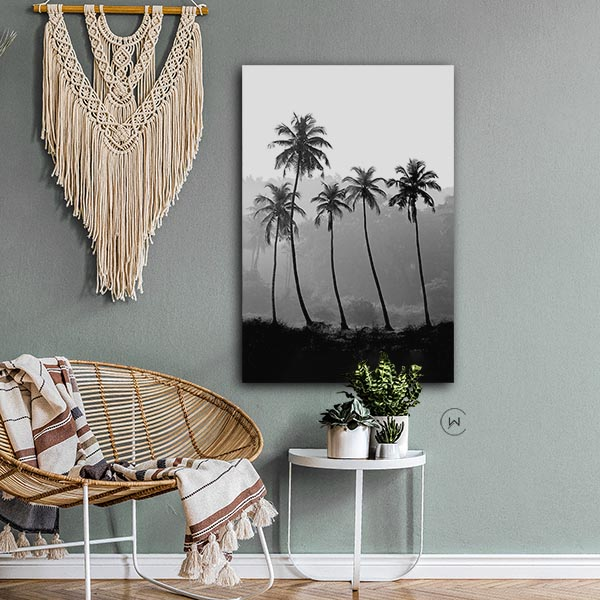 Boho stijl, palmen wanddecoratie
