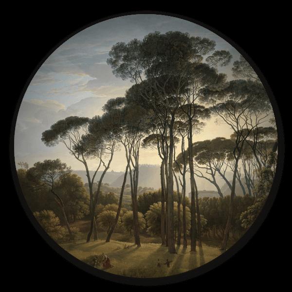 Muurcirkel Italiaans landschap met parasoldennen van Hendrik Voogd