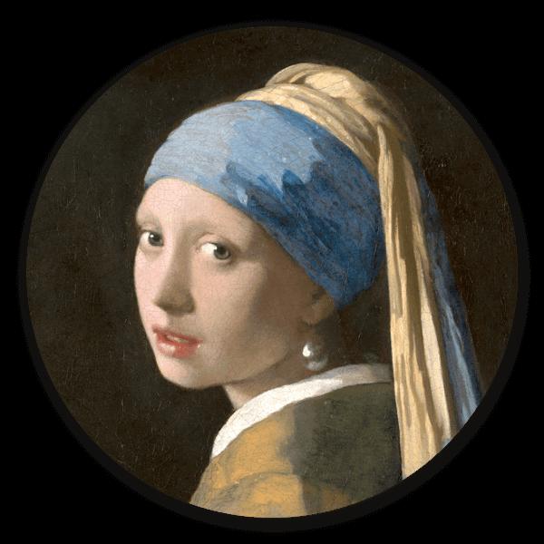 Muurcirkel Het meisje met de parel van Johannes Vermeer