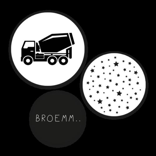 Muurcirkel set Cementwagen - wanddecoratie kinderkamer
