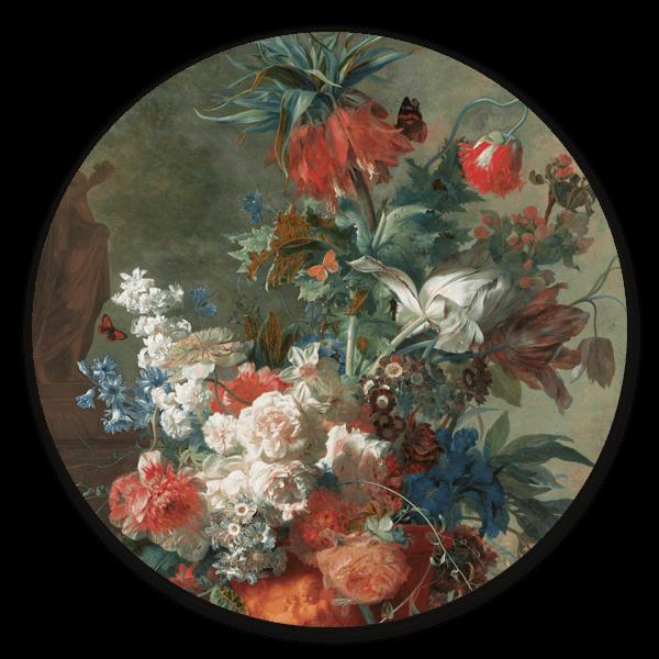 Muurcirkel Stilleven met bloemen van Jan van Huysum