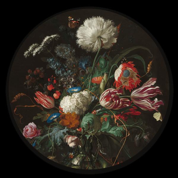 Muurcirkel Vaas met bloemen 2 van Jan Davidsz. de Heem