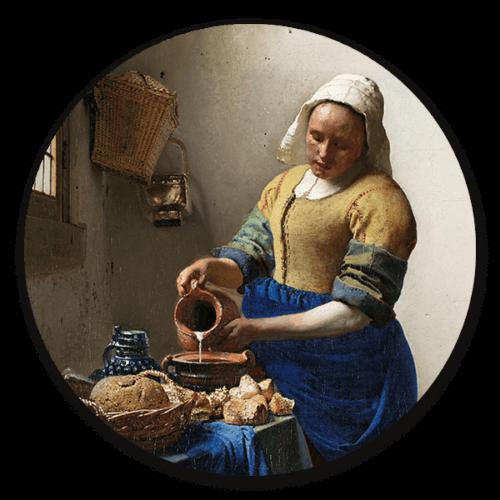 Ronde muurdecoratie Het melkmeisje van Johannes Vermeer