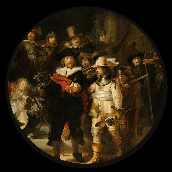 Muurcirkel De Nachtwacht van Rembrandt van Rijn