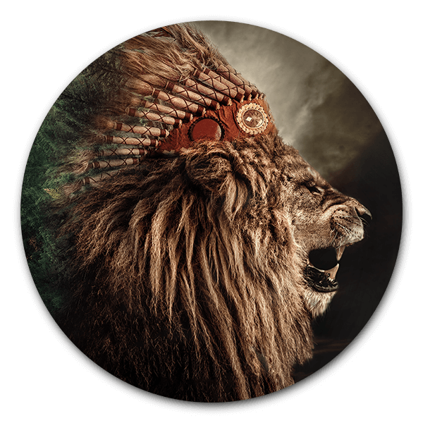 Muurcirkel Native lion
