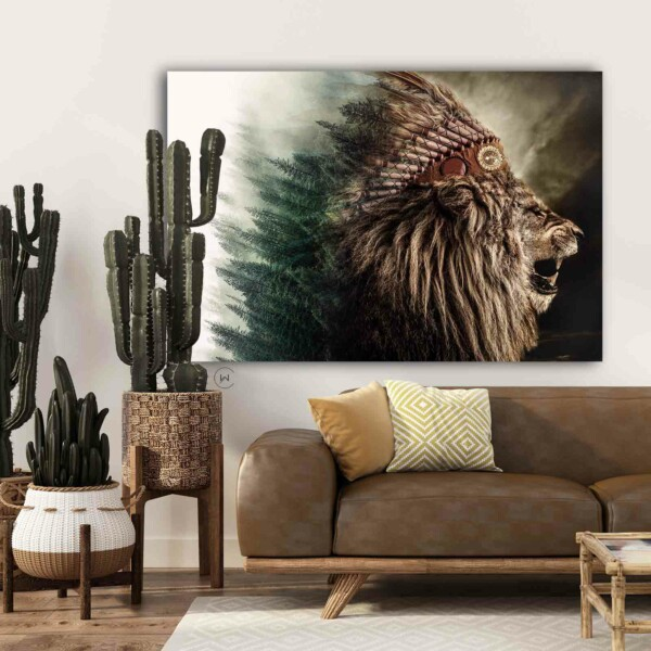Native Lion - dieren op wanddecoratie.