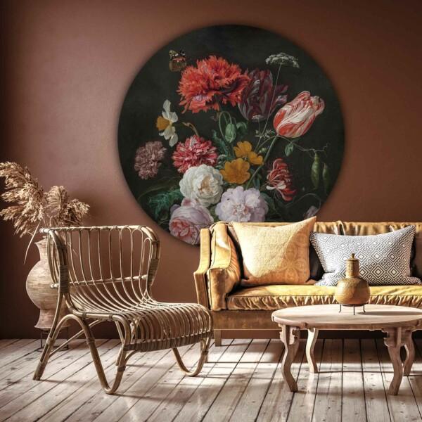 Muurcirkel Stilleleven met bloemen in een glazen vaas van Jan Davidsz. de Heem