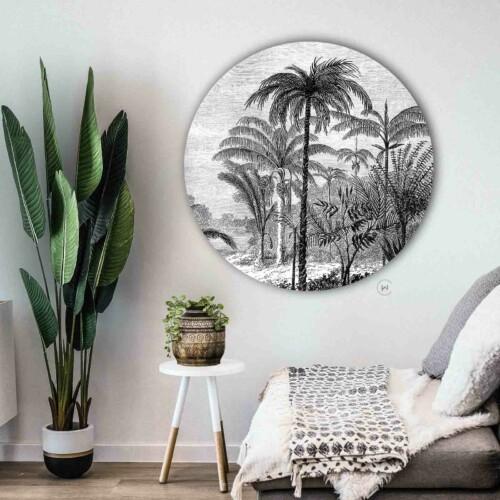 Muurcirkel Palm Jungle - botanische stijl aan de muur