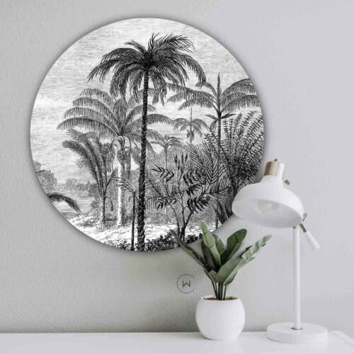 Wandcirkel Palm Jungle - ronde botanische muurdecoratie