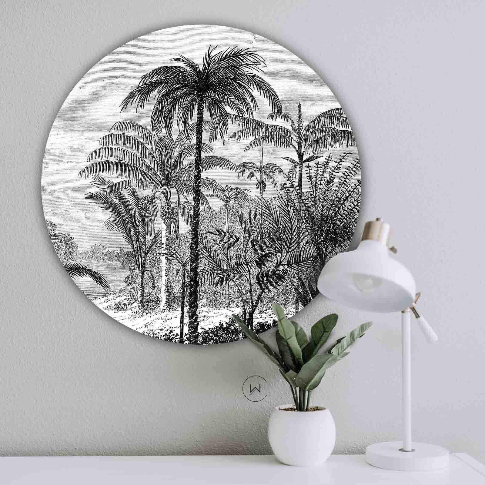 Muurcirkel Palm Jungle Ronde Botanische Wanddecoratie Wallcatcher