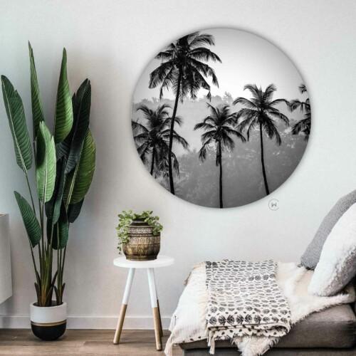 Wandcirkel Palmbomen - ronde botanische muurdecoratie