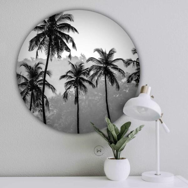Muurcirkel Palmen - ronde botanische wanddecoratie