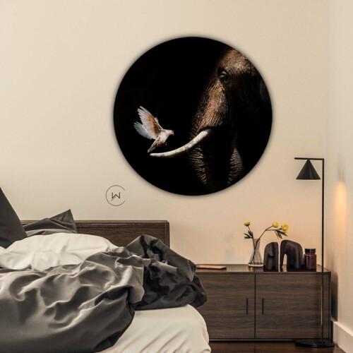 muurdecoratie olifant met duif