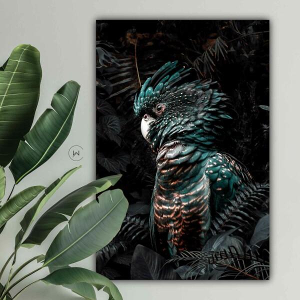 Botanische muurdecoratie jungle cockatoo