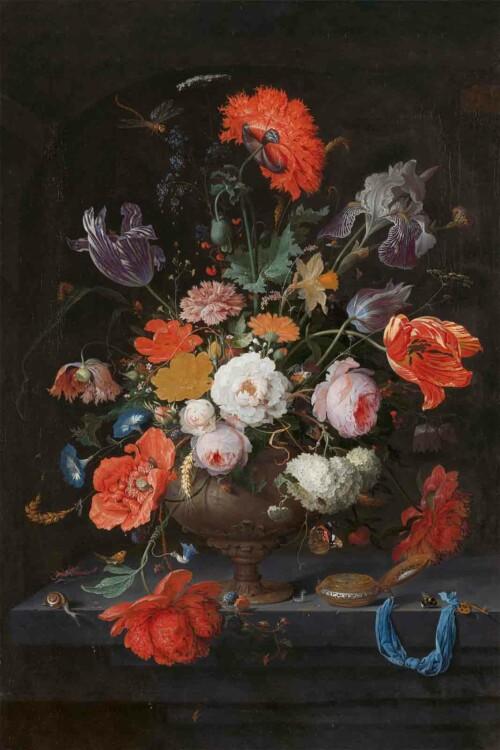 Stilleven met bloemen en een horloge - Abraham Mignon