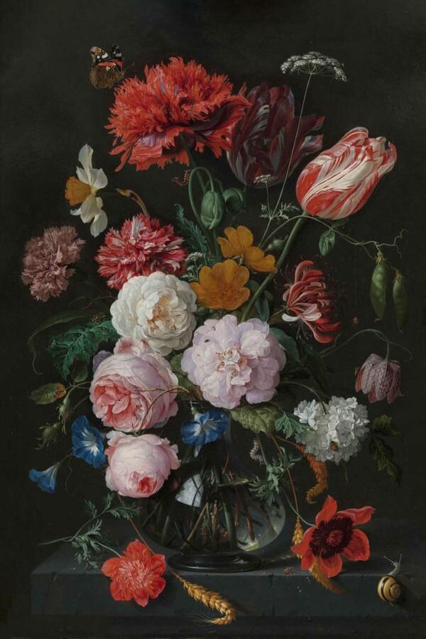 Stilleven met bloemen in een glazen vaas wanddecoratie