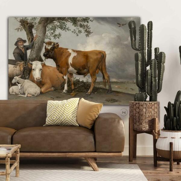 Landelijk interieur gecombineerd met een kunstwerk De stier