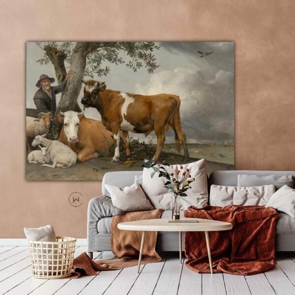 wanddecoratie De stier Oud Meesterwerk