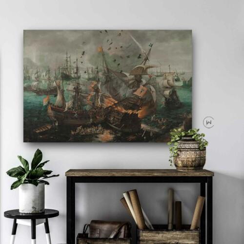 Stoere kunst Slag bij Gibraltar in 1607