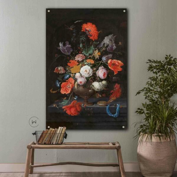 Wanddecoratie stilleven met bloemen en een horloge