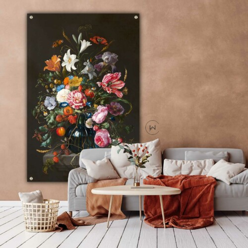 Wanddecoratie vaas met bloemen