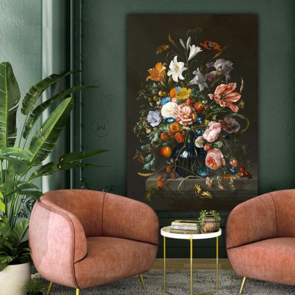 Stilleven vaas met bloemen luxe materiaal