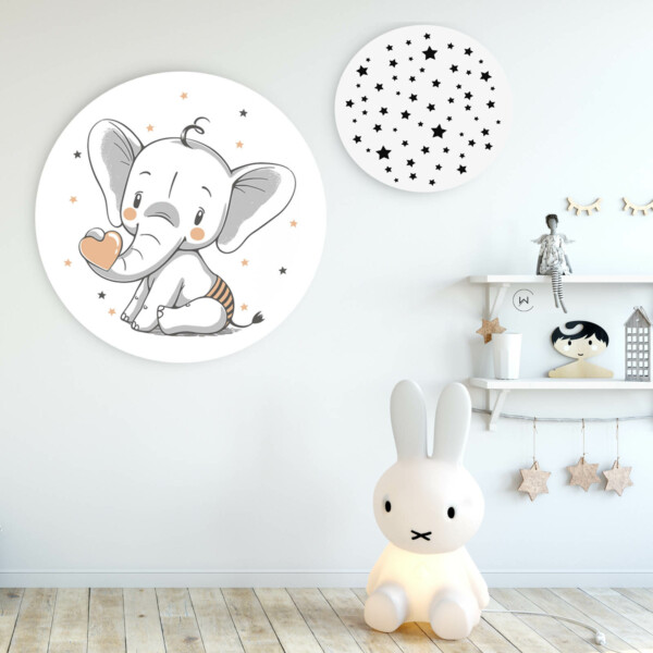 Wandcirkels olifant en sterren speelhoek kinderkamer