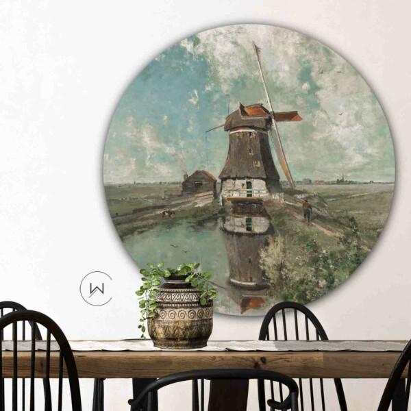 Wanddecoratie eetkamer Een molen aan de poldervaart