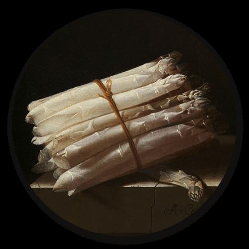 Muurcirkel Stilleven met asperges van Adriaen Coorte