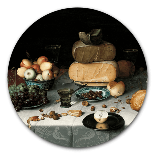 Muurcirkel Stilleven met kazen van Floris Claesz. van Dijck