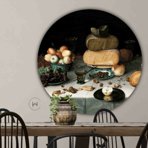 Moderne kunst in de eetkamer Stilleven met kazen