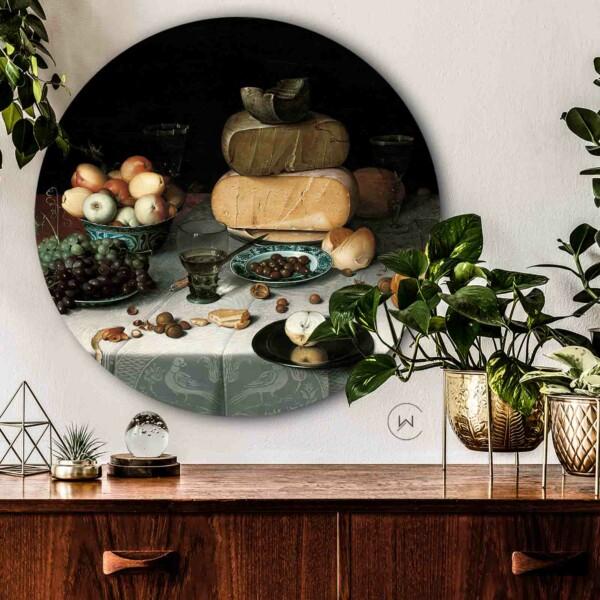 Stilleven met kazen kunstwerk in de keuken