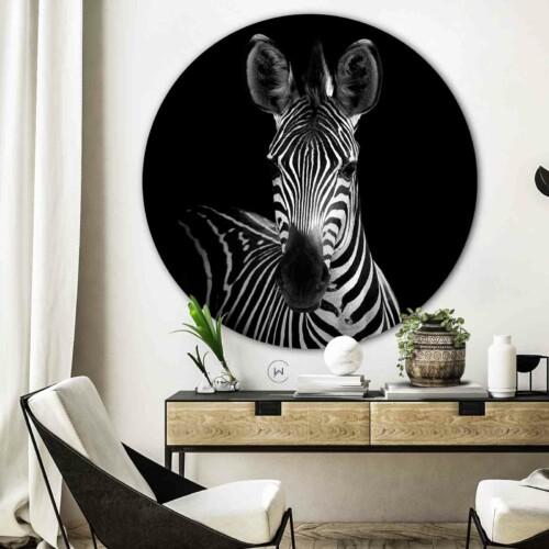 Zwart-wit ronde wanddecoratie Zebra