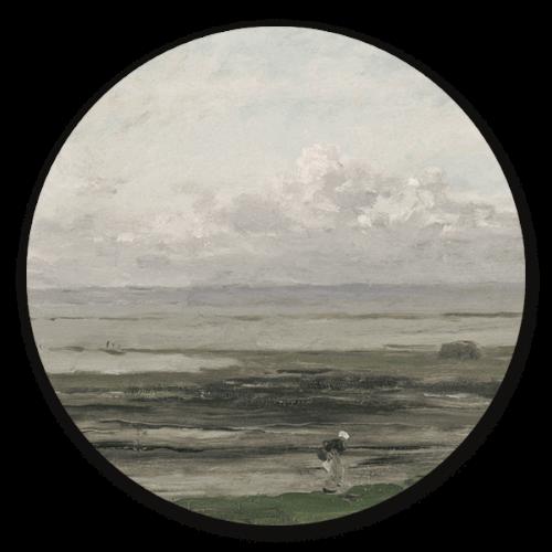 Muurcirkel Strand bij Eb van Charles-François Daubigny
